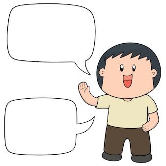 Junge mit sprechblasen