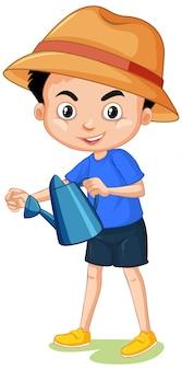 Junge mit tragendem hut der gießkanne