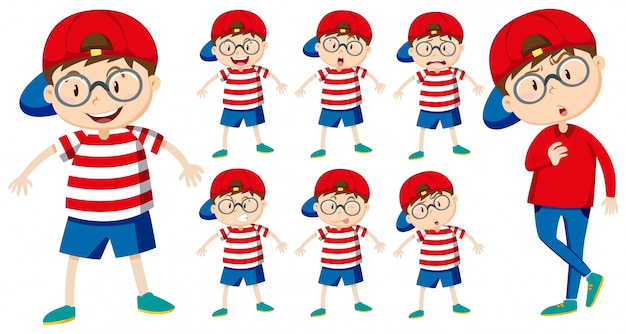 Junge mit verschiedenen emotionen illustration