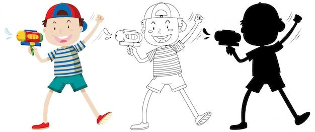 Junge mit wasserpistole in farbe und umriss und silhouette