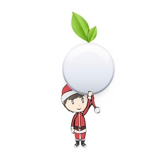 Junge mit weihnachtsmann-kostüm, das eco knopf hält