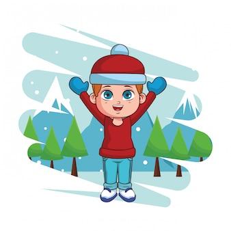 Junge mit winterkleidungskarikatur