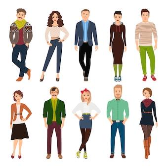 Junge modeleute der hübschen netten karikatur lokalisiert. freizeitkleidung männer und frauen vektor-illustration