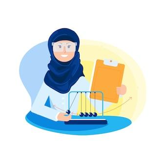Junge muslimische wissenschaftlerin, körperliches experiment durchführend