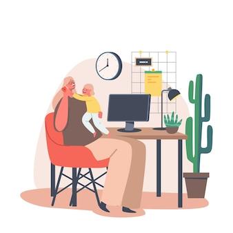Junge mutter-charakter-arbeit am pc mit tochter an den händen. multitasking-geschäftsfrau remote-arbeit von zu hause aus während der quarantäne. selbstisolation mit little baby. cartoon-menschen-vektor-illustration