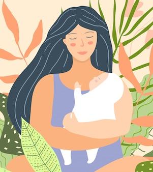 Junge mutter, die baby flat design hält. friedliche illustration der schönen mutter und des kindes in ihren armen.