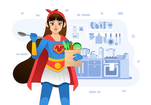 Junge mutter, die superheldenkostüm trägt, während löffel und lebensmittel in der küche, mit kücheninnenraum als hintergrund halten. verwendet für plakate, buchumschläge und andere