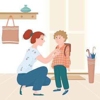 Junge mutter hockte sich vor ihr kind, kleiner junge, und brachte ihn zur schule