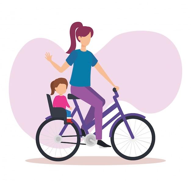 Junge mutter im fahrrad mit tochter