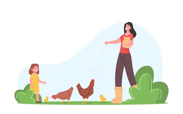 Junge mutter mit kleiner tochter, die hühner auf dem bauernhof füttert. bauernfamilien- oder dorfbewohner-charaktere arbeiten. mutter- und mädchenpflege von vögeln auf geflügelfarm, landwirtschaft, landwirtschaft. cartoon-menschen-vektor-illustration