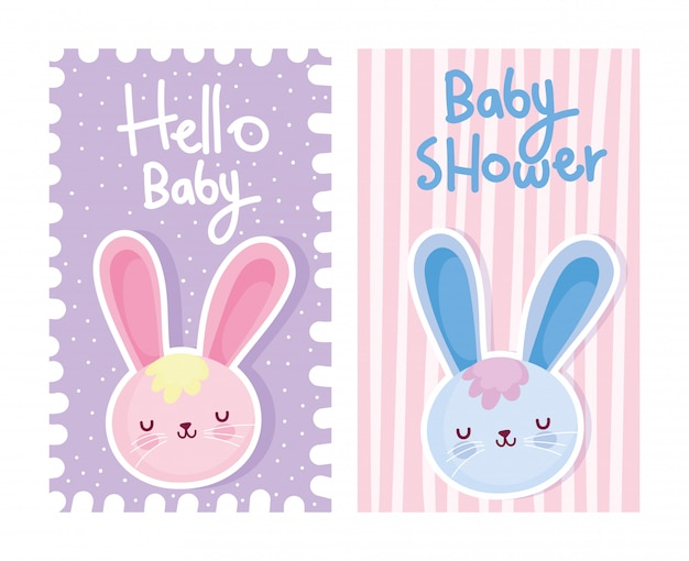 Junge oder mädchen, geschlecht decken hallo niedliche kaninchenkarte des babys auf