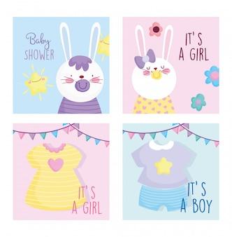 Junge oder mädchen, geschlecht decken niedliche häschenkarten der babyparty auf