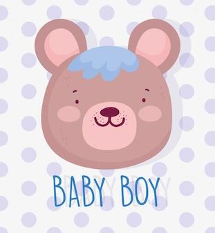 Junge oder mädchen, geschlecht decken sein eine niedliche bärengesichtskarte des jungen auf