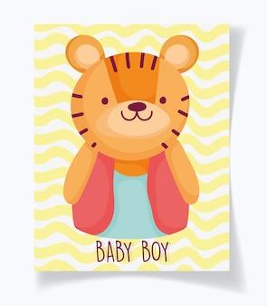Junge oder mädchen, geschlecht decken sein eine niedliche tigerkarte des jungen auf
