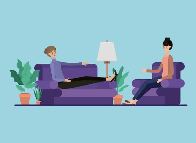 Junge paare, die auf dem wohnzimmer sich entspannen