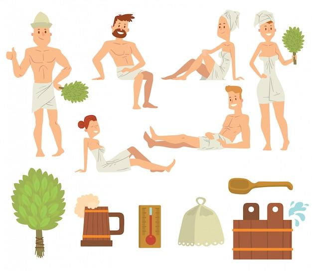 Junge paare, die im bürstenden vektor der badekurortgesundheitswesenkonzept-badleute sich entspannen.