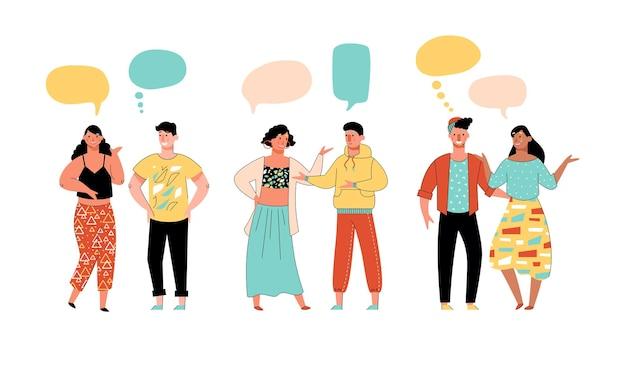Junge paare, die skizzenkarikaturillustration kommunizieren