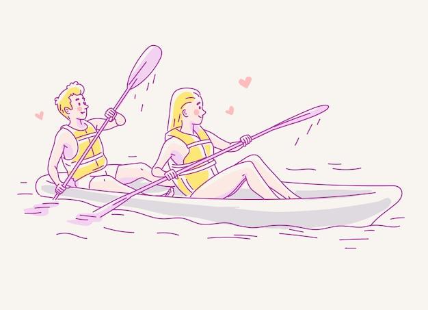 Junge paare in der liebe, die in ein boot auf dem fluss reist.