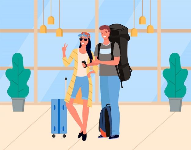 Junge paare von touristen mit gepäck-vektor
