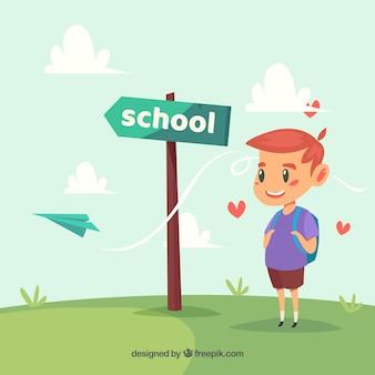 Junge, papier flugzeug und schule schild post