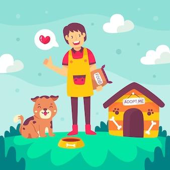 Junge person, die glücklich ist, einen hund zu adoptieren