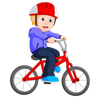Junge radfahren cartoon