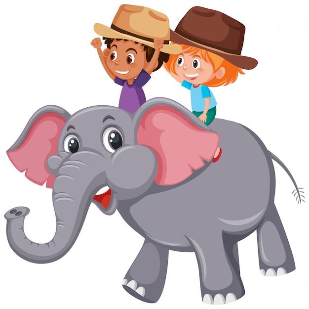 Junge reitet auf elefanten