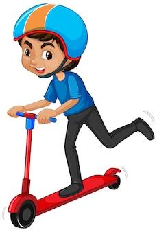 Junge reitet auf roller auf weißem hintergrund