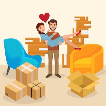 Junge reizende familie bewegen neues, romantisches charakterpaar kaufen haus flache vektorillustration. lieferpaket zeug modernes paar.