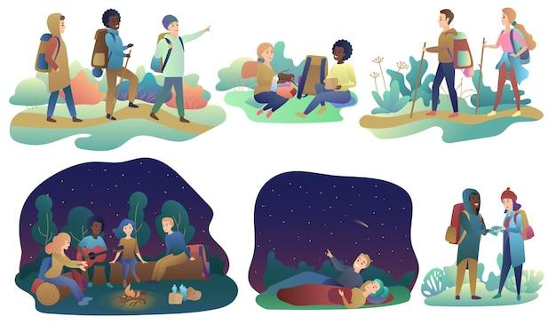 Junge romantische paare und eine gruppe von freunden, die abenteuerreisen oder campingausflüge wandern