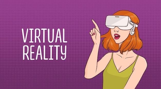 Junge rothaarige frau, die virtual-reality-brille trägt