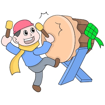 Junge schlägt die trommel, um das eid al fitr zu begrüßen, vektorillustrationskunst. doodle symbolbild kawaii.