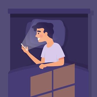 Junge schlafen in der nacht mit smartphone