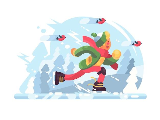Junge schlittschuh laufen. glücklicher mann in der mütze und im schal an der eisbahn. illustration