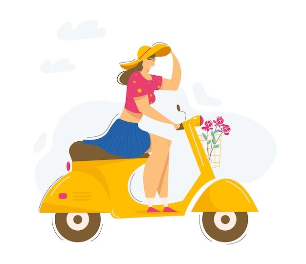 Junge schöne frau, die roller reitet. lächelnder weiblicher charakter, der motorrad fährt. städtischer verkehr.