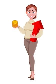 Junge schöne geschäftsfrau, die bitcoins und roten pfeil hält