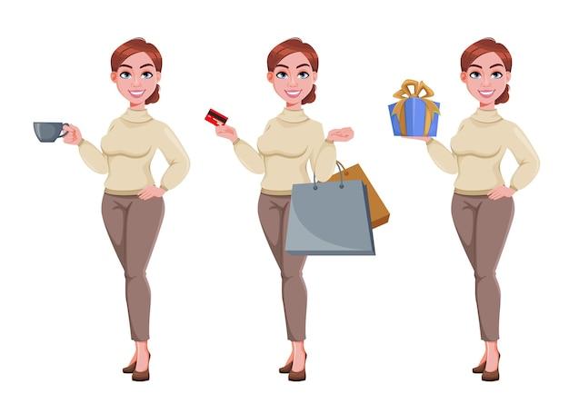 Junge schöne geschäftsfrau hübsche geschäftsfrau-cartoon-figur