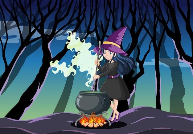 Junge schöne hexe mit schwarzem magischem topfkarikaturstil auf dunklem dschungel