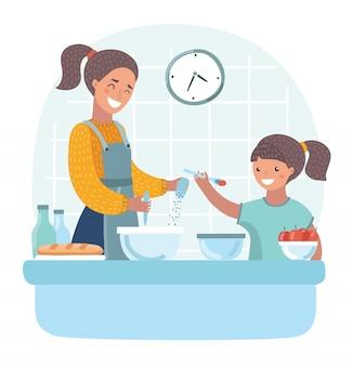 Junge schöne mutter lehrt tochter, teig in der küche vorzubereiten