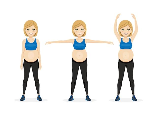 Junge schöne schwangerschaftsfrau. fitness gesunder lebensstil. vorgeburtliche übung.