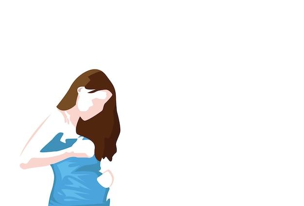 Junge schwangere frau skecth einfache linie vektor-illustration