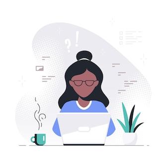 Junge schwarze frau, die an laptop arbeitet. freiberuflich, fernarbeit, online-studium, heimarbeitskonzept. flache art-vektor-illustration.