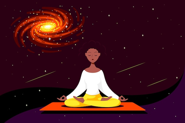 Junge schwarze frau sitzt in lotus pose mit weltraum herum. praxis von yoga und meditation.