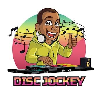 Junge schwarze junge disc jockey cartoon maskottchen