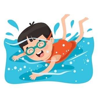 Junge schwimmen