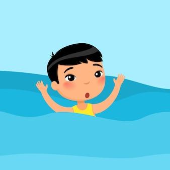 Junge schwimmt. schönes kind, das spaß im wasserwinken hat, kind, das sommeraktivitäten genießt