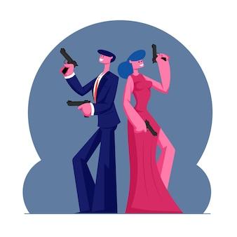 Junge selbstbewusste paare von mann und frau in modernen abendkleidern, die waffen halten, stehen rücken an rücken. karikatur flache illustration