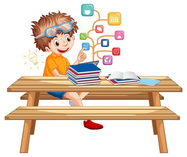 Junge sitzt auf der bank und lernt vom tablet