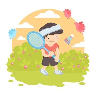 Junge spielt badminton