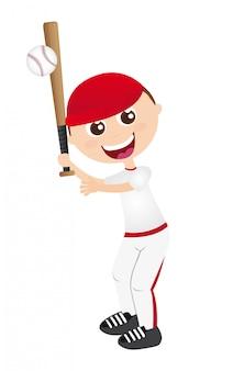 Junge spielt baseball isoliert über weißem hintergrund vektor-illustration